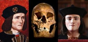 Portrait de Richard III, son crâne découvert en 2012 et une reconstitution de son visage