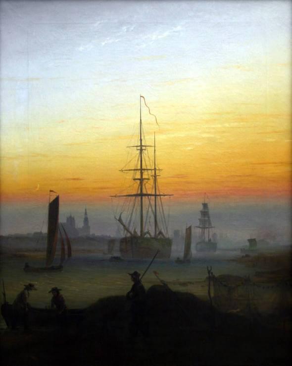 Caspar David Friedrich - Der Greifswalder Hafen : Schiffe im Hafen von Greifswald, circa 1818-1820.jpg